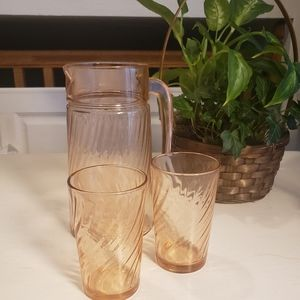 Vintage Arcoroc France Pink Pitcher and Glasses